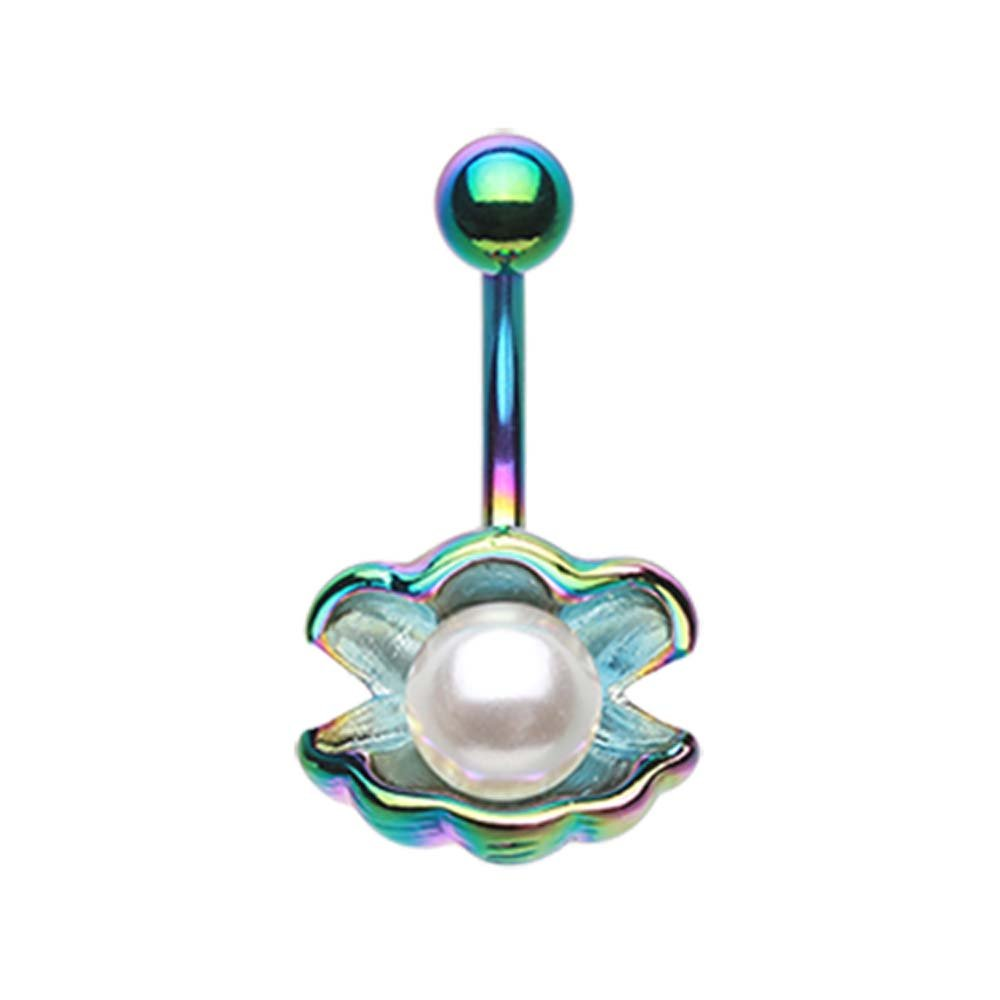 Colorline Ariels Shell with Pearl Belly Button Ring 14G - Sold Individually 1.6mm