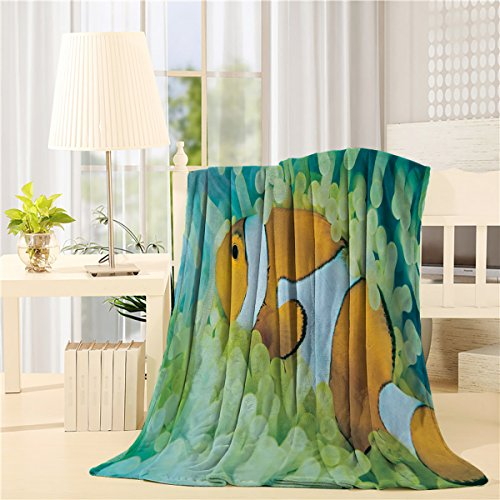 CHARMHOME Ultra Plush Comfort Throw Blanket 60 x 80 inch Lightweight Flannel Fleece Bed Blanket for Bedroom Living Rooms Sofa Couch - Little Clown Fish Sea Anemone hot sale 2017