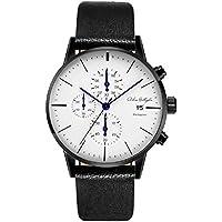 Wrist Watches Men Watch Monschau Minimalist Quartz Wristwatch Chronograph Black Genuine Leather Band Calendar Luxury 43mm Round Watch