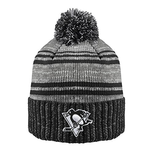 NHL Pittsburgh Penguins Men's Merlin Cuffed Knit Hat with Pom, One Size, Black/Charcoal (Sport Cuffed Knit)