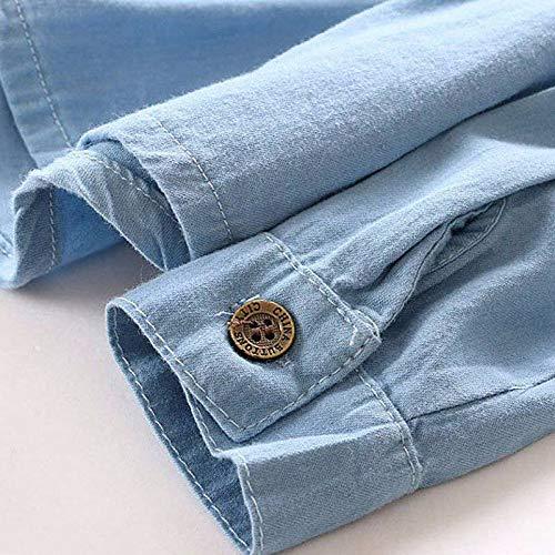 Amazon.com: Light Blue Jean Outwear Round Collar Chaqueta ...