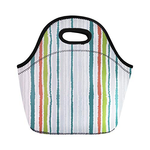 Semtomn Lunch Tote Bag Strip Pattern Lines Torn Effect Shred Edge White Gray Reusable Neoprene Insulated Thermal Outdoor Picnic Lunchbox for Men Women (Soup Sienna)