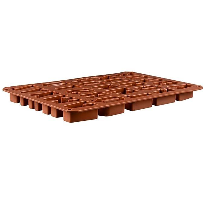 Pulison Molde de Silicona para Chocolate, Hacer Galletas, Dulces, Cubitos de Hielo, Marihuana, Hojas, Dulces, Chocolate, 1 Molde de 26 Letras de Silicona: ...