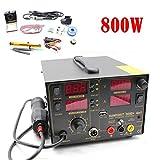 4 in1 Soldering Station Power Supply 110V 800W 909D+ Rework Heat Air Gun Soldering Iron Kit LED Digital