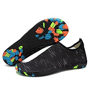 Unisex Water Skin Shoes Aqua Socks Barefoot for Swimming Hiking Dancing Surfing Snorkeling Beach Yoga Feet Length 253 Black