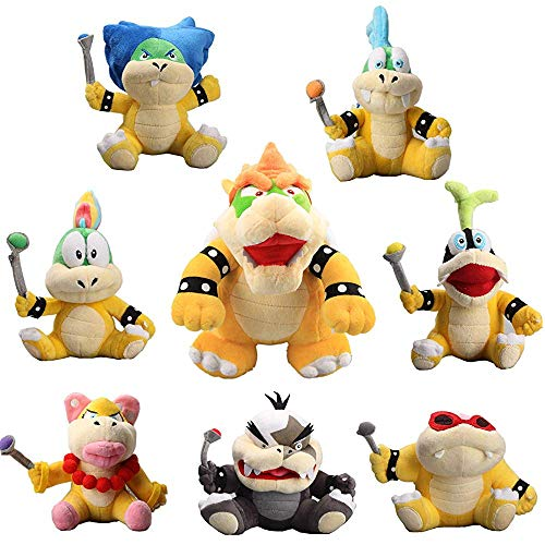 William Super Mario King Bowser & Koopalings Larry Iggy Lemmy Roy Ludwig Wendy Morton Koopa Plush Set of 8 pcs (Mario And Luigi Superstar Saga All Bosses)