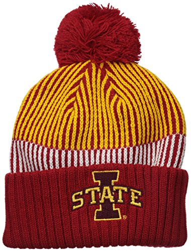 NCAA by Outerstuff NCAA Iowa State Cyclones Youth Boys Team Stripe Cuffed Hat w/ Pom, Multi, Youth One Size