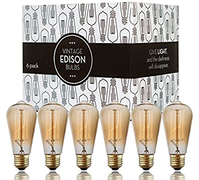 Edison Bulb Scandic Gear (6 Pack) 60 Watts Filament Vintage Antique Style Incandescent Light Squirrel Cage Design E26 E27 Medium Base Lamp for Chandeliers Pendant Lighting Wall Sconces 110-130 Volts