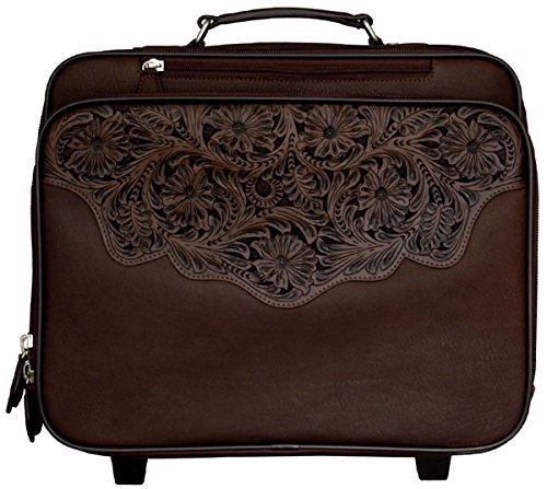 Executive hand-tooled, pebble grain leather rolling laptop or overinght bag (Tooled Leather Luggage)