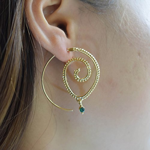 Gold exaggerated vintage bohemian spiral green auger earrings circle round tribal hoop jewelry Swirl hoop earrings for women