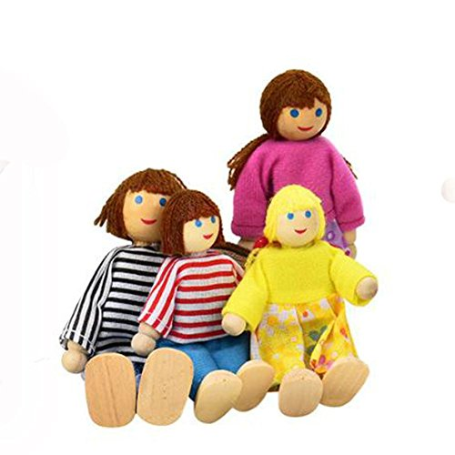 Rosiest Kids Children 4 Wooden Dolls House Family Member Play House Toy Role Play Toys - Thomas Sunglasses Train The