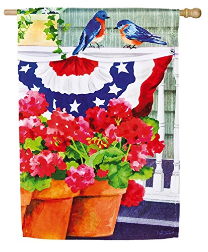 Cheap Bluebird Bunting and Geraniums House Flag