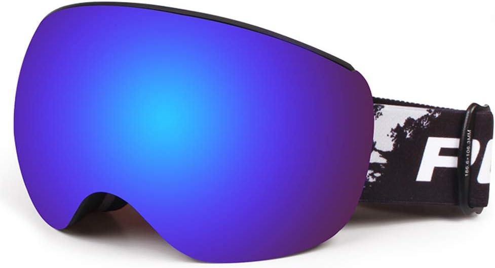 ユニセックススキーゴーグル、2層防曇TPU屋外メガネ、防塵防風プロ保護ゴーグル,黒 黒