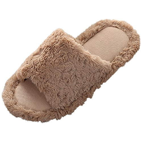 Anti Slip Brown Women's Indoor Comfortale Men's Plush Floor Bow Shoes Wear and Eastlion Slippers Soft Home azvFzq