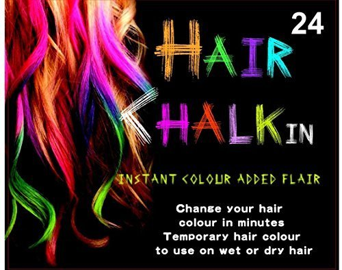 HAIRCHALKIN® 24 Colors Temporary Hair Chalk Set - Non-Toxic Rainbow Colored Dye Pastel Kit (50s Makeup And Hair)