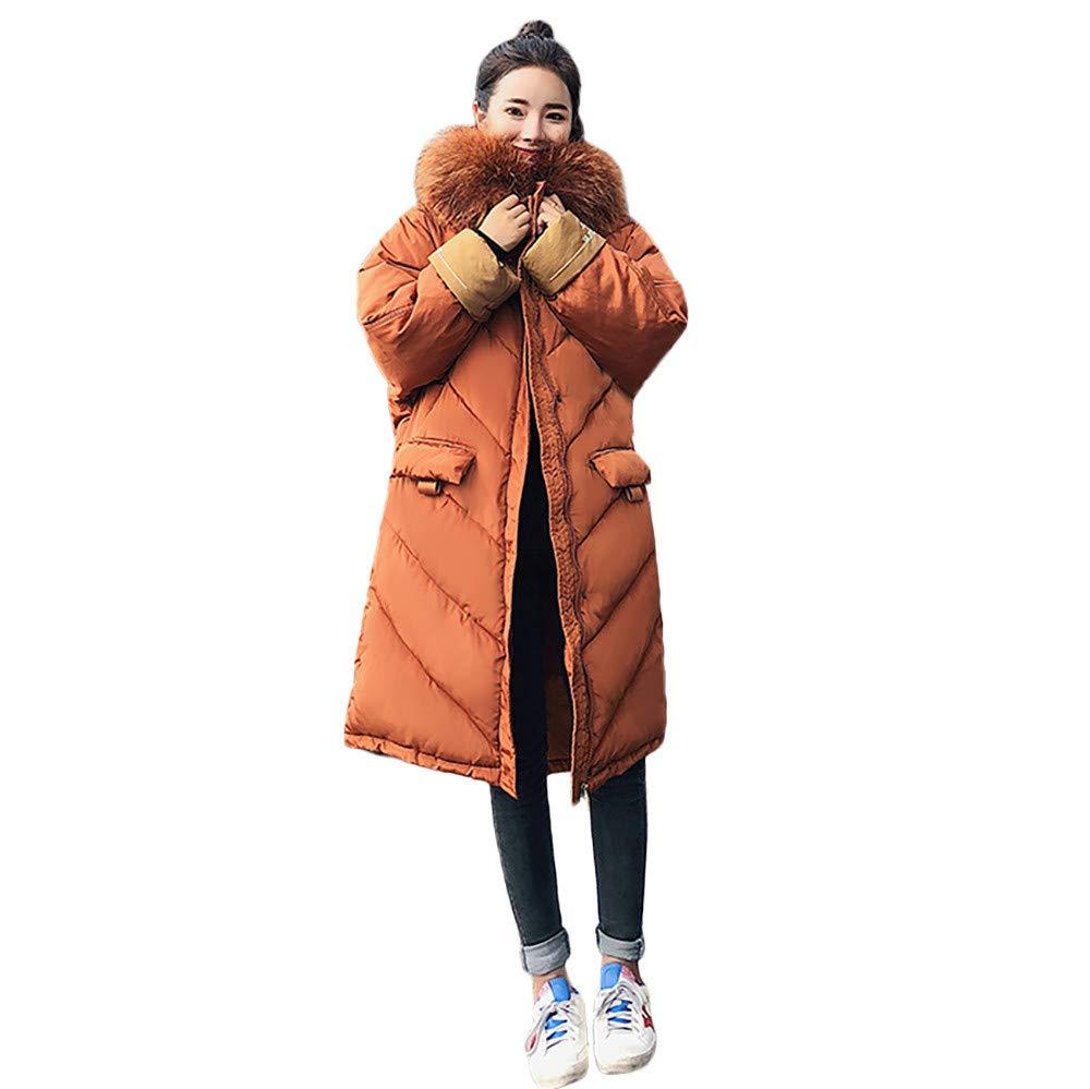 Fine Women's Lightweight Fur Hooded Long Cotton-Padded Jackets Down Coat Oversize