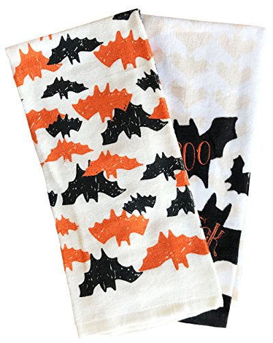 Celebrate Together Black and Orange Spooky Hanging Bat Halloween Kitchen Towel Set ()