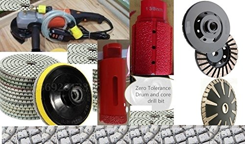 Wet Polisher 12 Granite Polishing Pads 1-3/8 Inch Diamond Zero Tolerance Drum 1-3/8'' Welded Core Drill Bit Hole Saw concrete marble polishing sink hole cutting counter top kitchen faucet hole cutting by Asia Pacific Construction