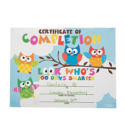 100th Day Owl Certificates ()