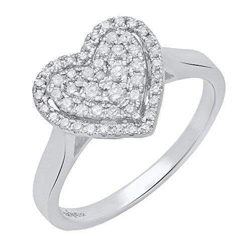 (Dazzlingrock Collection 0.35 Carat (ctw) 14K Round Diamond Ladies Heart Shaped Engagement Ring 1/3 CT, White Gold, Size 7 )