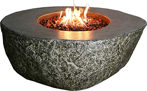 Elementi Fiery Rock Patio Fire Pit Table 50 x 42 Inches Grey Fire Bowl Glass Reinforced Concrete Liquid Propane Outdoor Heating Fire Place Includes Burner, Lava Rock and Canvas Cover