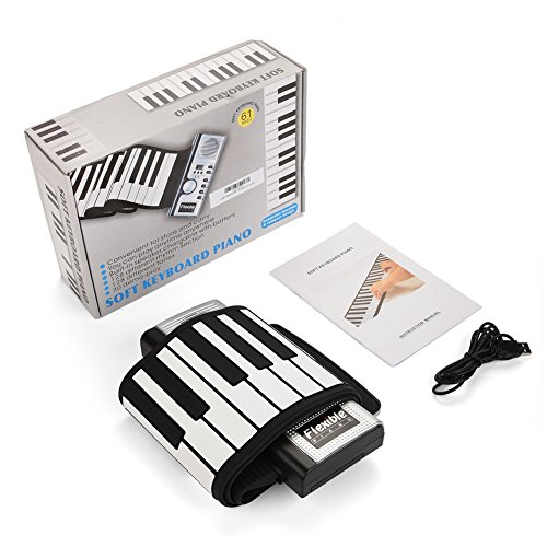 Dwawoo Portable Rolling Up Piano, 61 Keys Electronic Soft Piano Keyboard Hand Rolling Keyboard for Kids Beginners