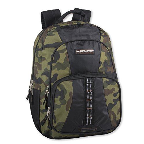 Trailmaker Tactical Military Style Camo Backpack with Lash Tabs and Padded Back and Straps(green)
