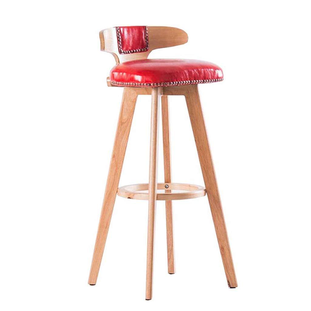 純木バースツールレトロ回転バーチェアキッチンハイスツールバーフロントデスクチェア,Red,Woodcolor Woodcolor Red B07RQTG64D