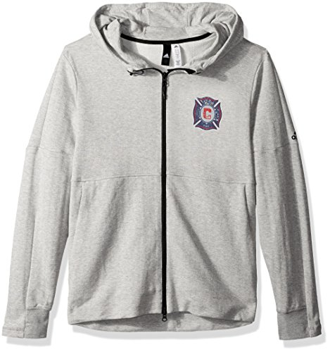 fan products of MLS Chicago Fire Ultimate Worn French Terry Full Zip Jacket, Medium, Medium Grey