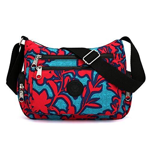 Kukoo Multi Pocket Crossbody Bag Spacious Shoulder Purse Waterproof Travel Handbags for Women (Floral Red)