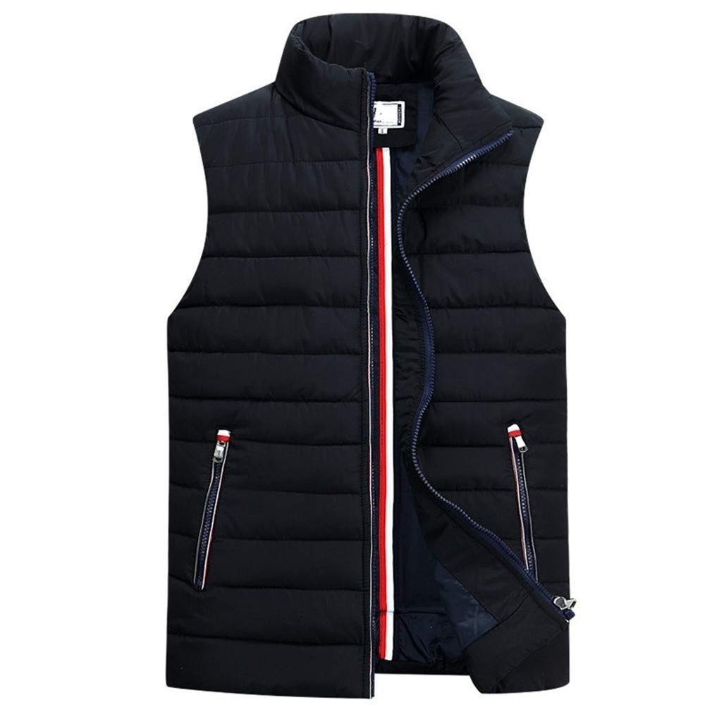 ekd-owk Mens Sleeveless Vest Homme Winter Casual Coats Male Cotton-Padded Thickening Vest Men Waistcoat Plus Size