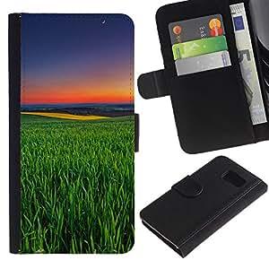 iKiki Tech / Cartera Funda Carcasa - Green Nature Summer Evening Sunset - Samsung Galaxy S6 SM-G920