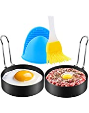 Egg Rings, Sopito 2 PCS Large 3.5 Inch Non Stick Fried Egg Mold Rings Stainless Steel with Oil Brush and Silicone Hand Clip for Eggs, Pancakes, Mcmuffin, Omelettes, Crumpets