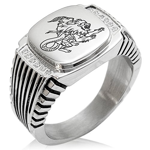 Two-Tone Stainless Steel Greek Mythology Chimera Engraved Clear Cubic Zirconia Ribbed Needle Stripe Pattern Biker Style Polished Ring, Size 9 (Ribbed Pattern Grade)