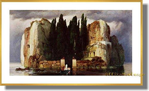 アーノルドベックリン 死の島 1886 【ポスター+フレーム】約 45x75cm ゴールド B0795XMCXKゴールド