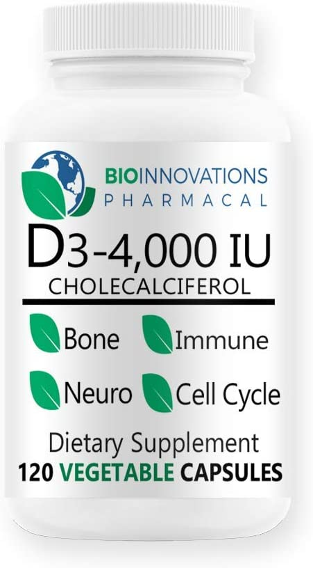 Bio-Innovations PharmacalVitamin D3-4000 IU (Cholecalciferol)Hypoallergenic Support for Muscles, Bones & Teeth, Breast, Prostate, Cardiovascular, Colon and Immune Health- 120 Vegetable Capsules