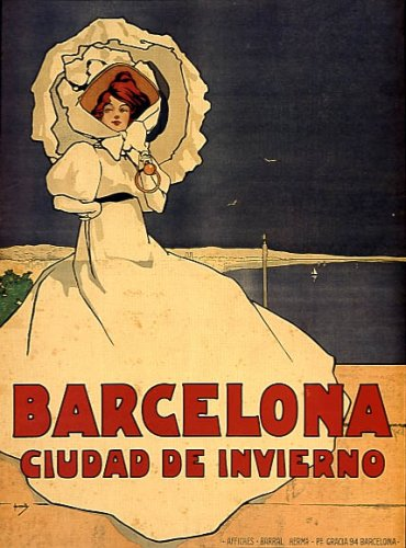 (BARCELONA CIUDAD DE INVIERNO SPAIN WINTER FASHION SPANISH WOMAN BEACH TRAVEL TOURISM LARGE VINTAGE POSTER REPRO)