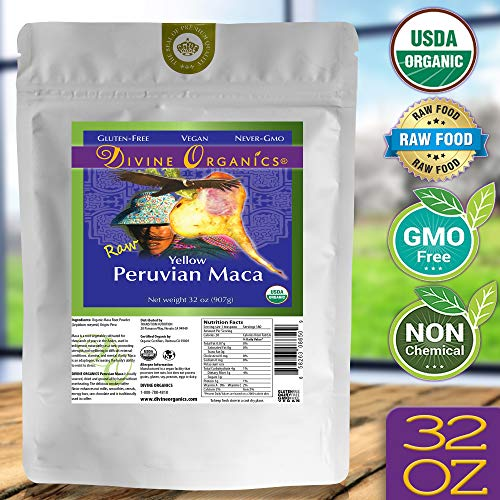 Divine Organics 2 Lb / 32 Ounce - Raw Peruvian Maca Powder - Certified Organic - Vegan, Antioxidant, Gluten Free - Mix in Coffee, Chocolate, Smoothies, Cereals - Yellow Peruvian Maca Root (Maca Peruvian)