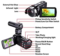 "Camera Camcorder,Onshowy Remote Control Infrared Night Vision Handy Camera HD 1080P 24MP 16X Digital Zoom Video Camera with Microphone and 3.0"" LCD 270 Degree Touchscreen and 2 Batteries (Black) from Onshowy"