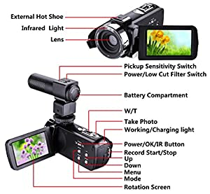 """Camera Camcorder,Onshowy Remote Control Infrared Night Vision Handy Camera HD 1080P 24MP 16X Digital Zoom Video Camera with Microphone and 3.0"""" LCD 270 Degree Touchscreen and 2 Batteries (Black) by Onshowy"""