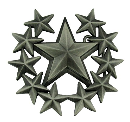 Famous Star Belt Buckle - double layer five-pointed star western belt buckle Rock Famous Black Star Belt Buckle