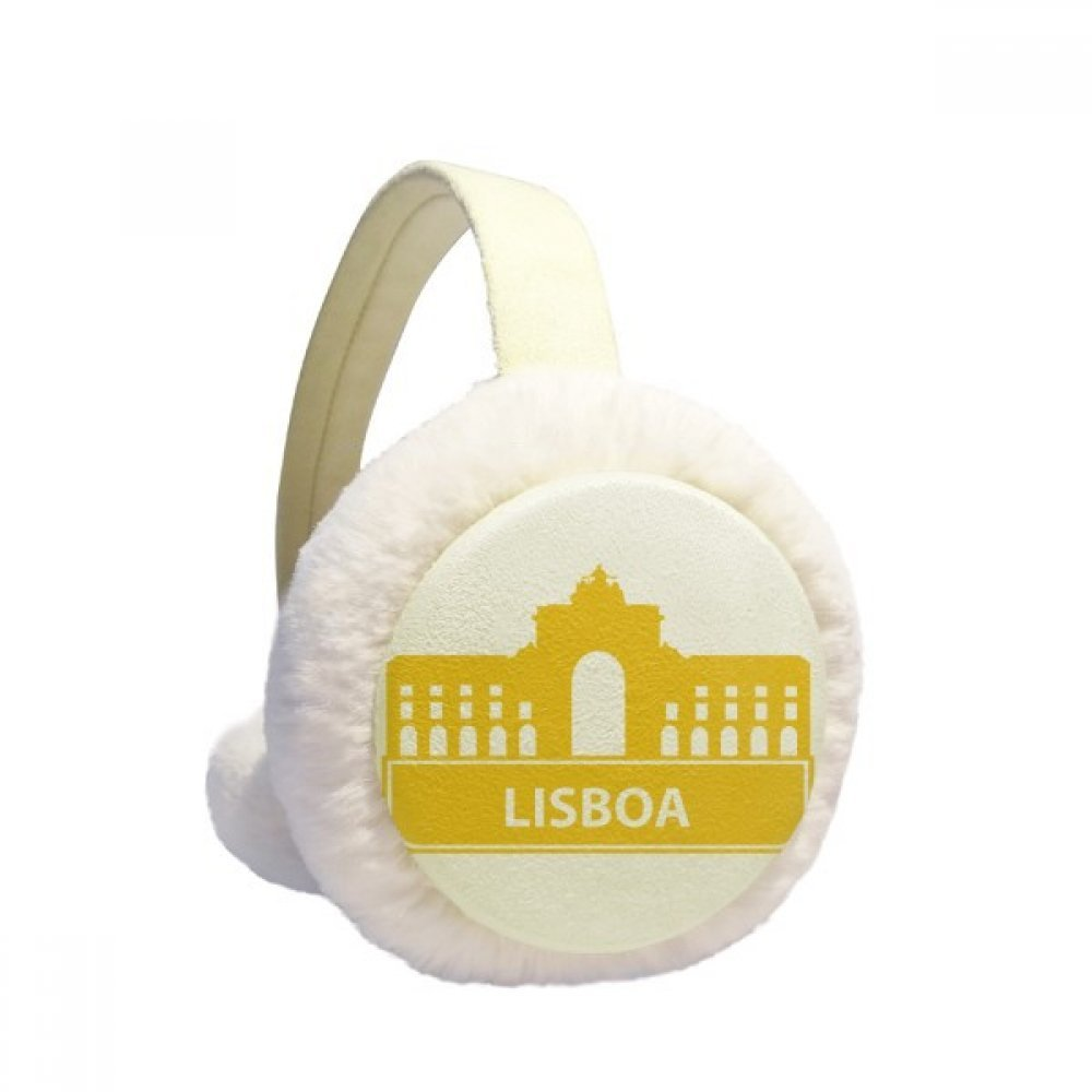 Lisboa Portugal Yellow Landmark Winter Earmuffs Ear Warmers Faux Fur Foldable Plush Outdoor Gift