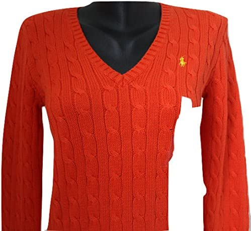 Ralph Lauren Marca Mujer Polo Cuello de Pico Color Naranja ...
