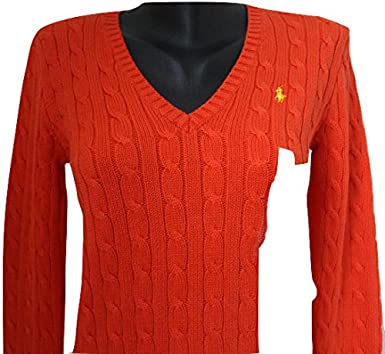 6ae40a2b8 Ralph Lauren WOMENS POLO V-NECK BRIGHT ORANGE CABLE KNIT SWEATER JUMPER  WITH YELLOW PONY  LARGE  Amazon.co.uk  Clothing