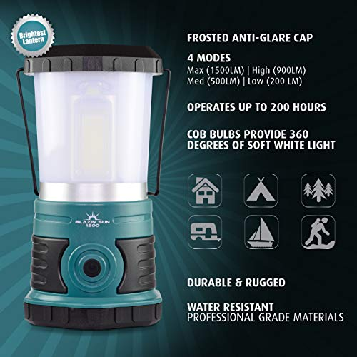 Blazin' Sun 1500 Lumen   Led Lanterns Battery Operated   Hurricane, Emergency, Storm, Power Outage Light   200 Hour Runtime (Teal) by Blazin' Bison (Image #1)