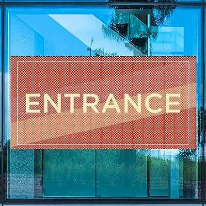 96x48 CGSignLab Entrance Modern Diagonal Perforated Window Decal
