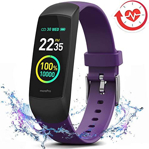 MorePro HRV Fitness Tracker Heart Rate, Activity Tracker with Blood Oxygen Monitor, Waterproof Pedometer Smart Watch with Sleep Monitor, Step & Calorie Counter for Women Men (Purple)
