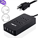 Power Strip with USB, Mibote Smart 4 Outlet Surge Protector Power Strip with 4 Port USB Charger 6ft Power Cord 2500W 100-240V for Travel, TV, Computer, Transformers, Power Bank (Black)