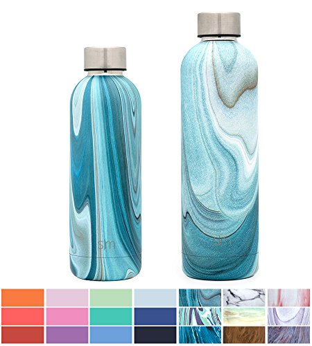 Simple Modern 17oz Bolt Water Bottle - Stainless Steel Hydro Swell Flask - Double Wall Vacuum Insulated Reusable Blue Small Kids Metal Coffee Tumbler Leak Proof Thermos - Ocean Quartz