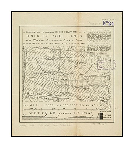 1883 Rough (1883 Map A geological & topographical rough survey of Hinckley Coal Lands near Warsaw, Coshocton County, Ohio Relief shown by contours.Includes text & cross-section|Ready to Frame|Historic A)